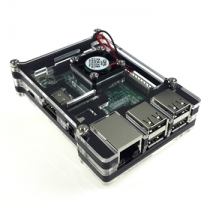 Raspberry Pi 3 and Raspberry Pi 2 Model B black Acrylic Case with Cooling fan(8Layer)