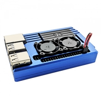 Raspberry Pi 3B+ Aluminum Case With Dual Cooling Fan Blue