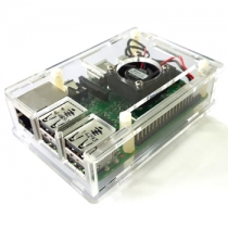 Transparent Case with Mute Cooling Fan for Raspberry Pi 3 Model B /Raspberry Pi 2 and B+